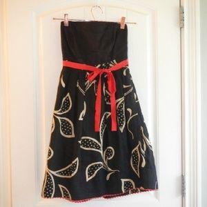 Anthropologie Maeve   Black Linen Floral Dress